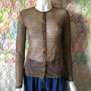 VINTAGE 90s SHEER BUTTON ANIMAL PRINT TOP size xs